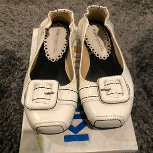 Girls Kid Express White Leather Flats